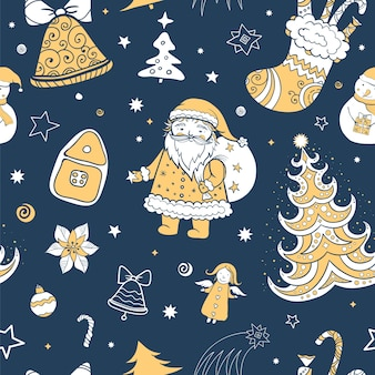 Seamless tricolor christmas pattern of santa claus and christmas attributes.