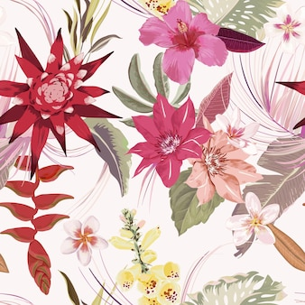 Seamless tropic floral autumn vector pattern. elegant dry palm leaves, boho watercolor tropical flowers. luxury illustration design for fashion textile, texture, fabric, wallpaper, cover, backdrop
