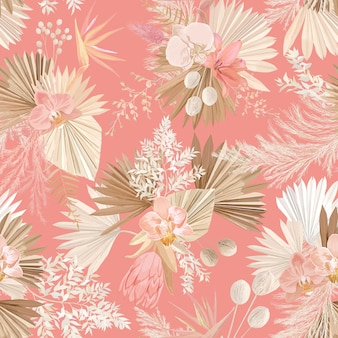 Бесшовный тропический цветочный узор, пастельные сухие пальмовые листья, тропический цветок бохо, орхидея, протея. векторная иллюстрация дизайн, акварель модный стиль для модного текстиля, текстуры, ткани, обоев, обложки