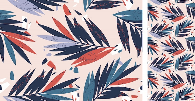 Seamless tropical abstract pattern with palm leaves