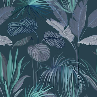 Бесшовный тропический фон, цветочный принт обоев с экзотическими листьями джунглей, растения тропических лесов, природный орнамент для текстиля или оберточная бумага, декоративный образец летнего сада. векторные иллюстрации