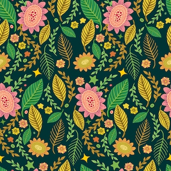 Seamless tropical beautiful flower pattern background