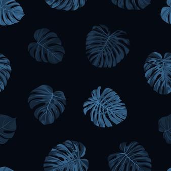 Seamless tropical botanical pattern with indigo blue monstera palm leaves. exotic hawaiian.
