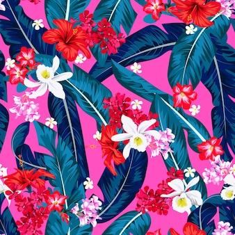 Бесшовный тропический яркий узор с банановыми листьями для текстиля