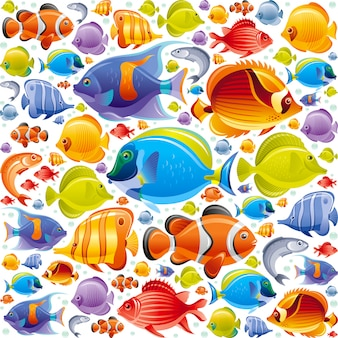 Seamless tropical fish pattern. sea animals illustration.