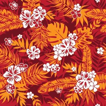 Бесшовный тропический цветочный фон с пальмовыми листьями для ткани летнего платья