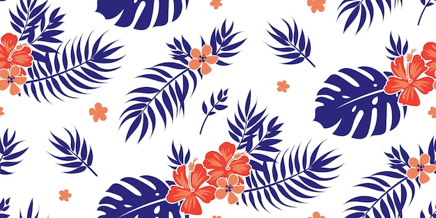 Seamless tropical floral background with palm leaves for summer dress fabric
