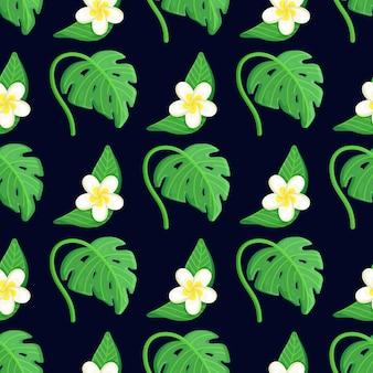 Бесшовные тропический цветочный узор с пальмовыми листьями и цветами.