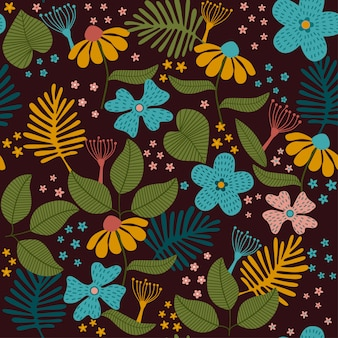 Seamless tropical floral pattern.