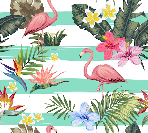 Seamless tropical flower and flamingo illustration