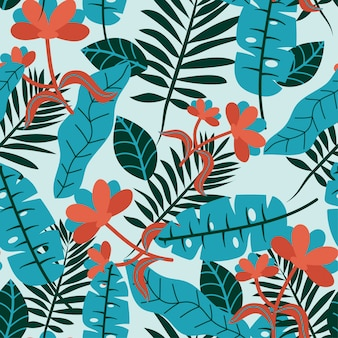 Seamless tropical flowers and leaves pattern in hawaiian style