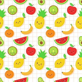 Seamless tropical fruit pattern in kawaii style