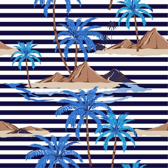Seamless tropical island pattern with nautical stripes. palm tree