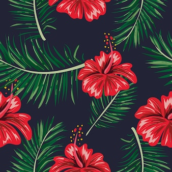 Seamless tropical leaf and flower pattern.