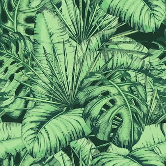 Seamless tropical leaves pattern for fashion textile, black line plant vector illustration.