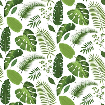 Seamless tropical leaves pattern summer design