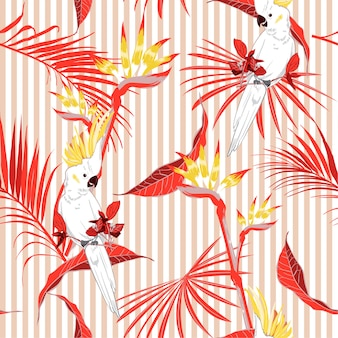 Seamless Tropical  leaves with  macaw bird on stripe