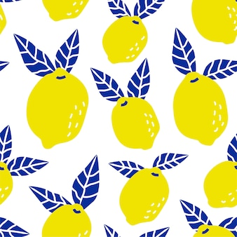 Seamless tropical lemon fruit pattern