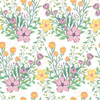 Seamless tropical pastel colors flower pattern illustration