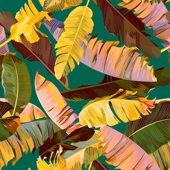 Seamless tropical pattern with banana leaves
