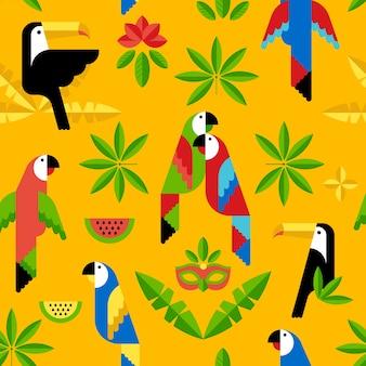 Бесшовный тропический узор с птицами. вектор. тукан и попугаи.