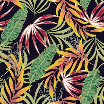 Seamless tropical pattern with bright leaves, flowers and plants