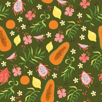 Seamless tropical pattern with citruses, papaya, dragon fruit