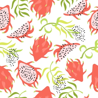 Seamless tropical pattern with dragon fruit