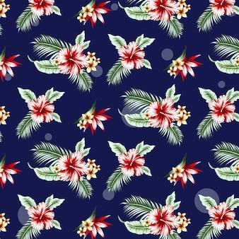 Hibicus、ヤシの葉、花とのシームレスな熱帯パターン。ベクトルイラスト。
