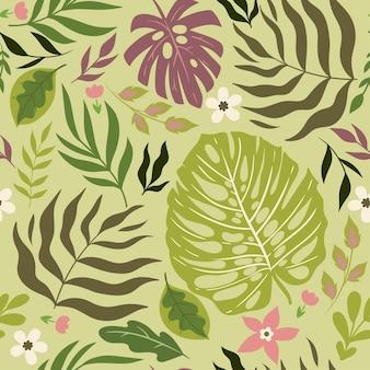 Бесшовный тропический образец с листьями и цветами. векторная графика.