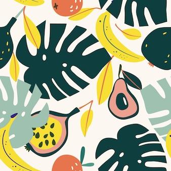 Бесшовный тропический узор с листьями современный векторный дизайн для декора интерьера бумажной ткани