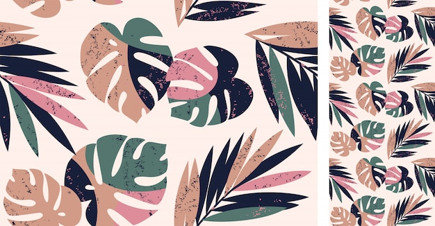Seamless tropical pattern with monstera and palm leaves
