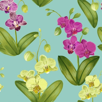 Seamless tropical pattern with orchid flowers.