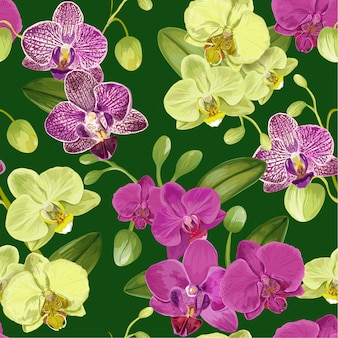 Seamless tropical pattern with orchid flowers