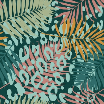 Seamless tropical pattern with palm branches and leopard  print