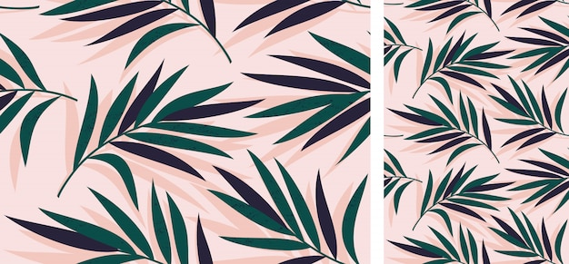 Seamless tropical pattern with palm leaves Premium Vector