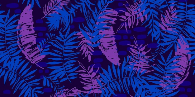 야자수 잎이 있는 원활한 열대 패턴