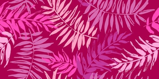 Бесшовный тропический образец с пальмовыми листьями