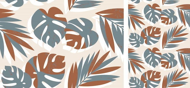 Seamless tropical pattern with palm and monstera leaves Premium Vector