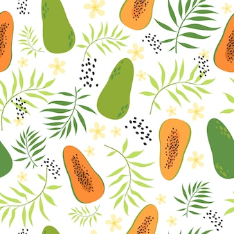 Seamless tropical pattern with papaya