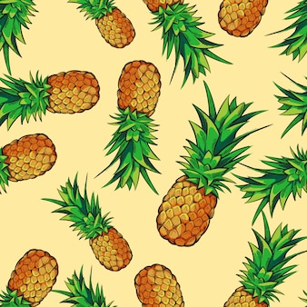 Seamless tropical pattern with pineapples