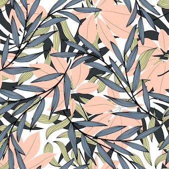 Seamless tropical pattern with plants and leaves in beige tones