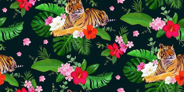 Бесшовный тропический узор с тиграми и букетом цветов и листьев гибискуса