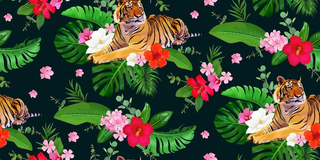 Seamless tropical pattern with tigers and bunch of hibiscus flowers and leaves