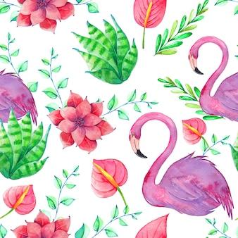 Бесшовный тропический узор с акварельными птицами, листьями и цветами