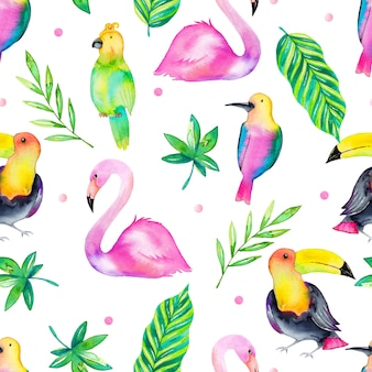 Seamless tropical pattern with watercolor birds, leaves  and flowers