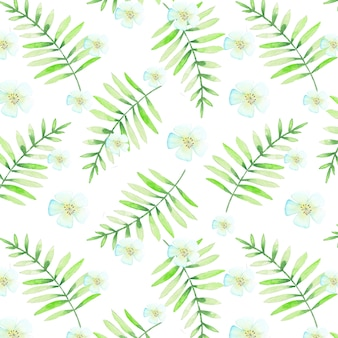 Seamless tropical pattern with watercolor leaves  and flowers