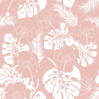 Seamless tropical pattern with white monstera leaves and flowers on pink background