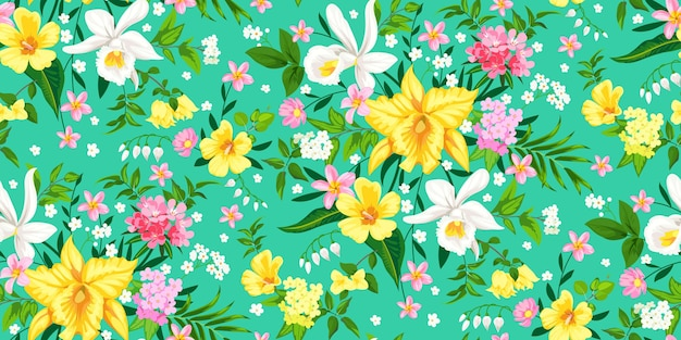 난초와 원활한 열 대 봄 꽃 배경