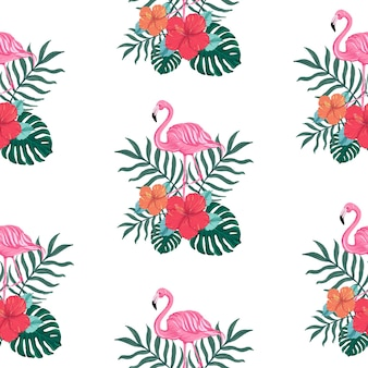 Seamless tropical summer pattern with hibiscus flower and  flamingo birds